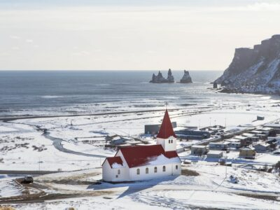 Vík covered in snow along Iceland's south coast