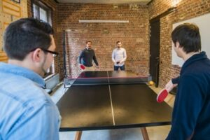 A table tennis competition at work