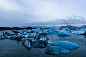 Jokulsarlon Glacier Lagoon in south Iceland during twilight