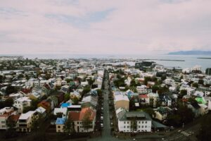An panoramic view of Reykjavik from Hallgrímskirkja church which remote working allows people to explore