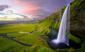 Seljalandsfoss waterfall in Iceland during summer