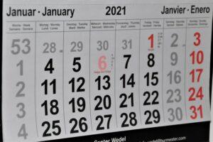 A paper calendar of January 2021 before the Icelandic tax return date