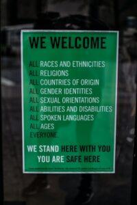 A workplace inclusivity notice