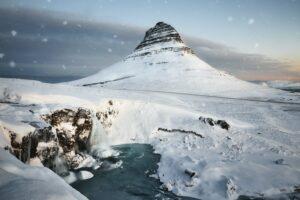 Kirkjufell mountain in West Iceland under snowfall