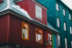 A red home in downtown Reykjavik in Iceland