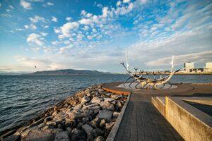The Sun Voyager sculpture in Reykjavik under a blue sky
