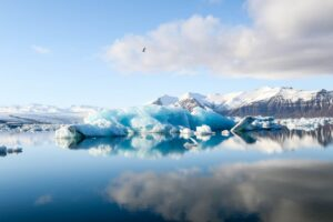 Jokulsarlon glacier lagoon in Iceland under a blue sky