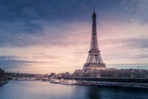 A remote working view of the Eiffel Tower in France