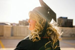 A young woman celebrating her graduation