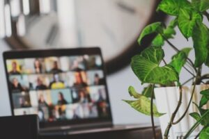 A remote worker on a zoom meeting from home
