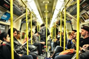 A crowded job commute on the London Underground
