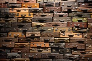 A wall of luggage suitcases