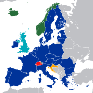 EEA and EU map of the European continent