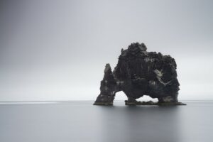 Hvitserkur rock arch in North Iceland on an overcast day