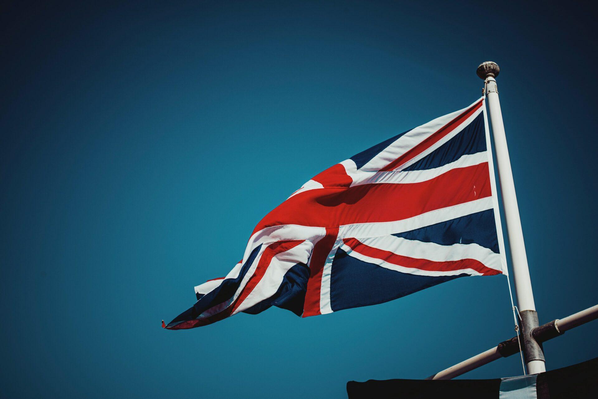 UK flag on a blue backdrop
